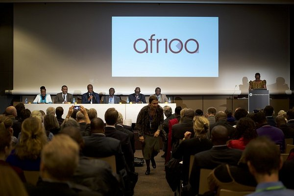 "Launching the "" AFR100 "" initiative at the Global Landscapes Forum."