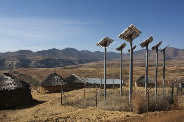 Solar power generates energy for the village in Leribe District, Lesotho.